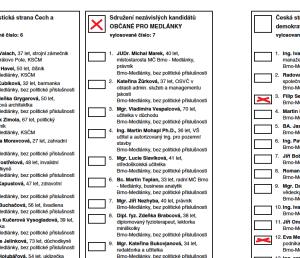 Hlasovací lístek s vyznačním jedné listiny a také dalších kandidátů